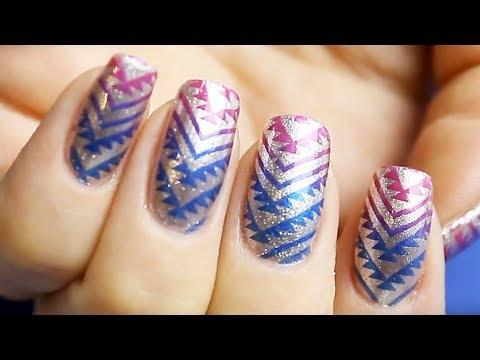 Two Colors Nail Design - Stemping Nail Art Tutorial For Beginners thumbnail
