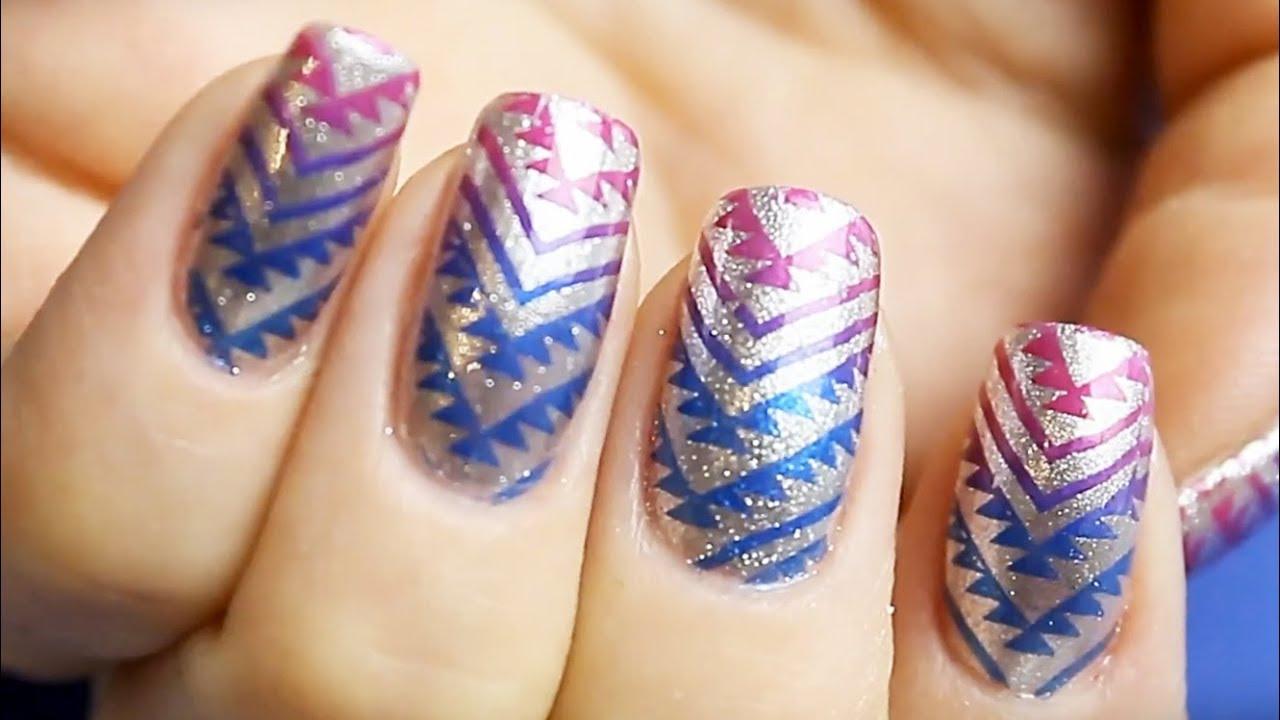 Two Colors Nail Design - Stemping Nail Art Tutorial For Beginners - Two Colors Nail Design - Stemping Nail Art Tutorial For Beginners