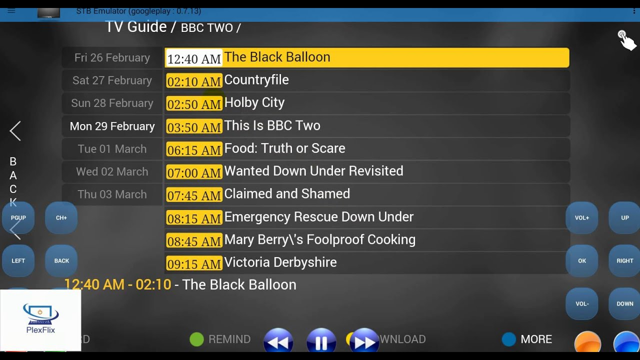 Pikaflik IPTV EPG Guide in STB Emulator
