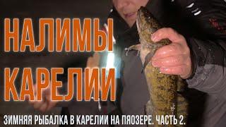Зимняя рыбалка в Карелии на Пяозере Часть 2 Налим