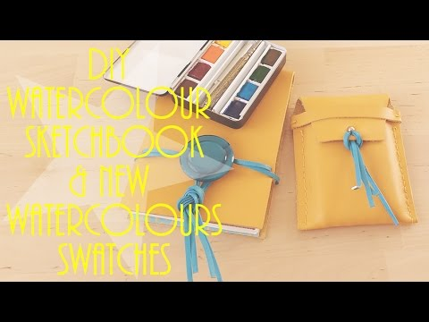 DIY watercolour sketchbook, mini palette & new Sennelier watercolour swatches!