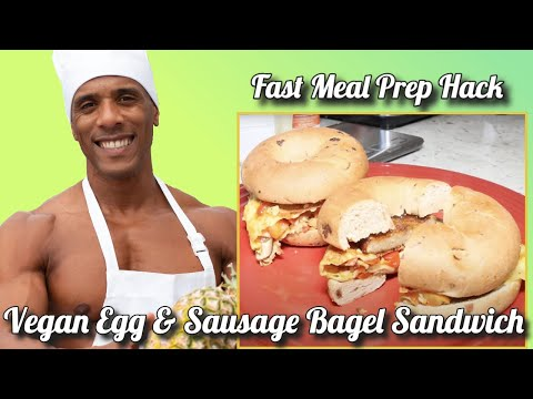 Vegan Egg & Sausage Bagel Sandwich