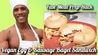 Vegan Egg &amp Sausage Bagel Sandwich