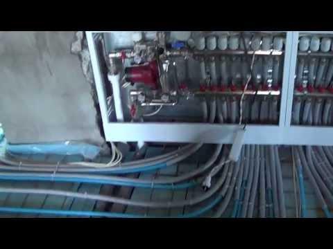видео: теплый пол (в коттедже 360м^2).