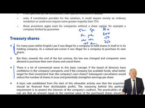 Treasury shares - ACCA Corporate and Business Law (LW) (ENG) (GLO)