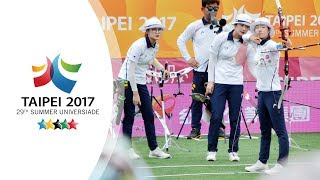 Korea v Chinese Taipei – recurve women's team gold final | Taipei 2017 Universiade