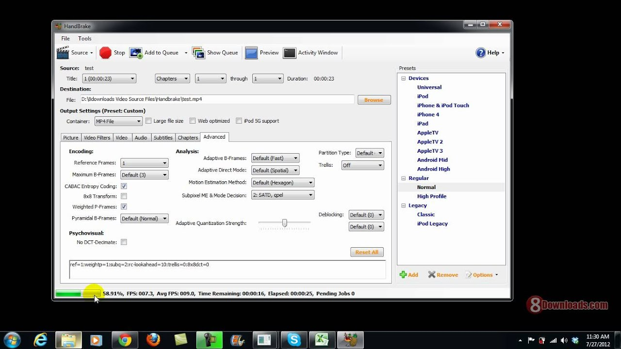 Convert AVI to MP4 using Handbrake