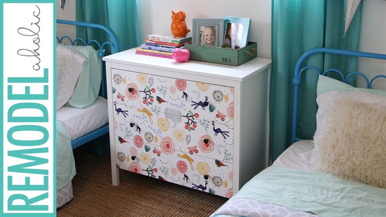 DIY | 15 Minute Ikea Dresser Hack | How to Makeover your Dresser using Wallpaper