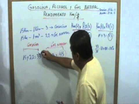 Gasolina, Alcohol y Gas Natural, RENDIMIENTO EN VEHICULOS