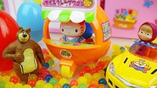 Orange Hello kitty car and baby doll toys Orbeez play