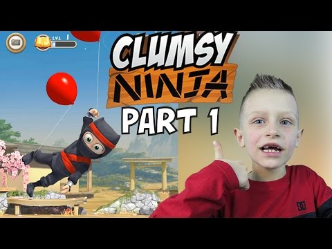 Clumsy Ninja #1 - floating with baloons, jumping on trampoline | KID GAMING