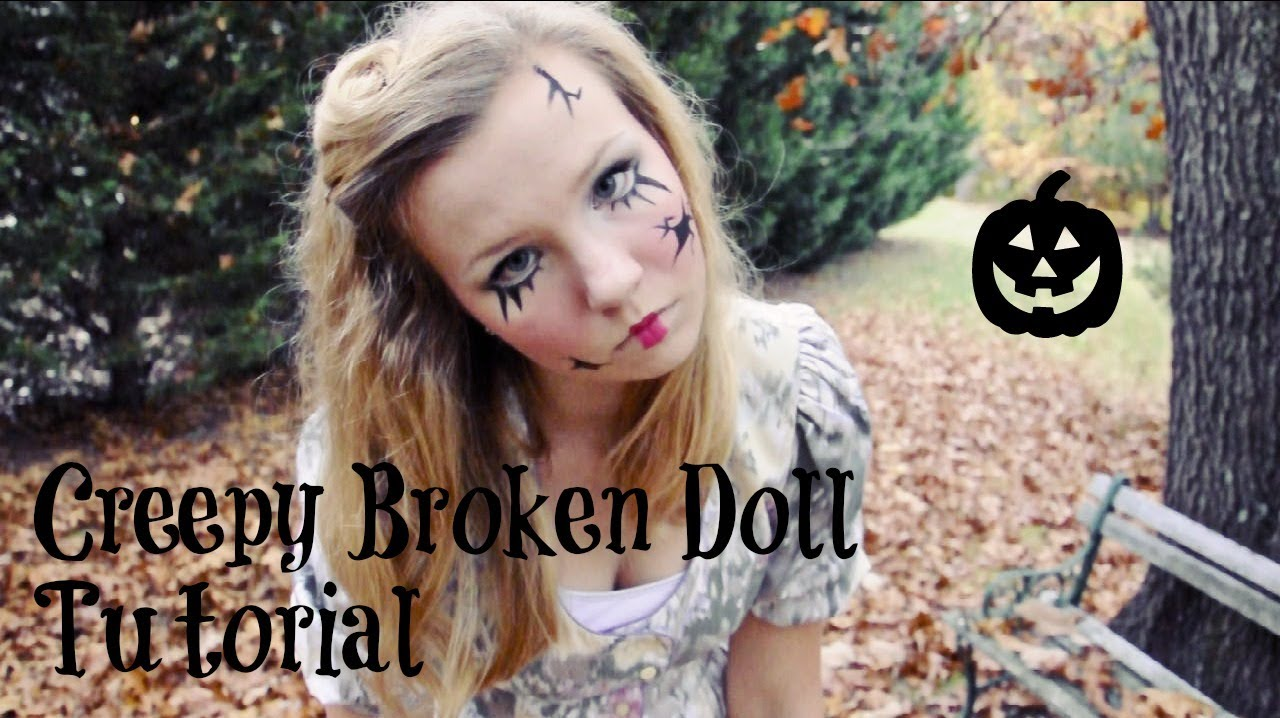 creepy broken doll hair makeup and costume tutorial youtube