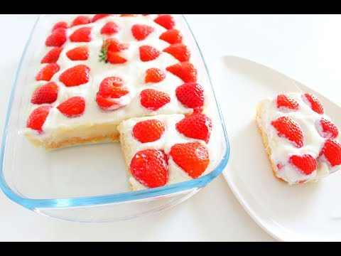 einfache-schnelle-erdbeeren-kuchen!-ohne-backen-/-ohne-gelatine-/-no-bake-strawberry-cake-recipe-!