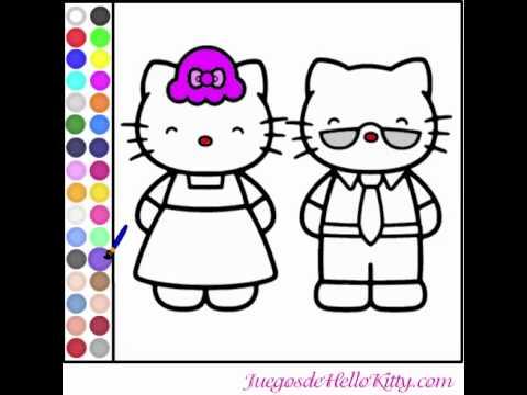 Juego colorear padres de hello kitty youtube for Juegos de hello kitty jardin