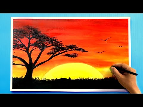 Sunset scenery Painting ✅ Drawing online with oil pastels