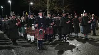 Massed Pipes and Drums finale and salute by the river Tay, Perth City centre, Jan 2019