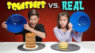 SQUISHY FOOD VS. REAL FOOD CHALLENGE!!! Attack of the JUMBO Squishies!