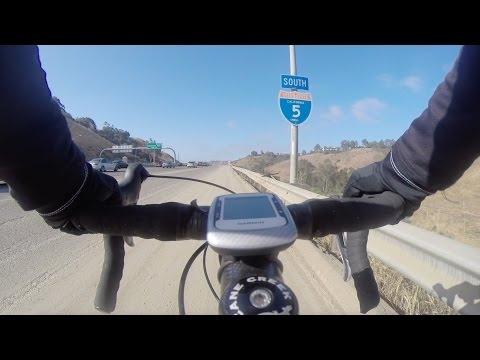 Cycling on the 5 freeway in San Diego