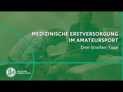 Tapen mit DFB Physio Klaus Eder Drei-Streifen Tape für das Sprunggelenk