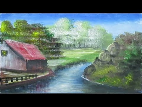 How to Draw Beautiful Village House | Acrylic Landscape Painting | Learn Videos For Kids