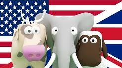Englannin oppimista lapsille! Opeta lapsille eläimiä, kulkuneuvoja ja numeroita englanniksi