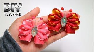 DIY - Tutorial kanzashi butterfly 2 satin ribbon Bahan yang digunak...