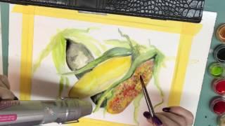 Indian Corn Watercolor