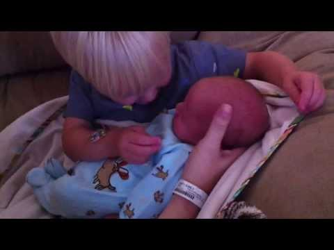 Everett Meeting Baby Brother Cole for the First Time