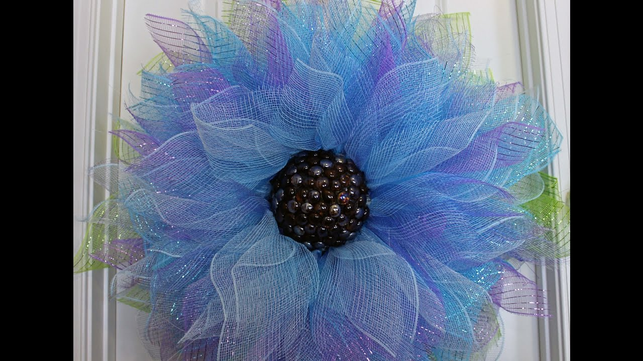 How To Make A Deco Mesh Flower Youtube