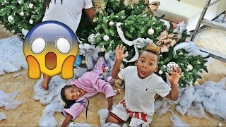 OUR GIANT CHRISTMAS TREE FALLS ON YAYA AND DJ (PRANK ON MOM)