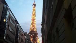 Eiffel Tower - What an amazingly beautiful structure. Side street view with Twinkle lights!