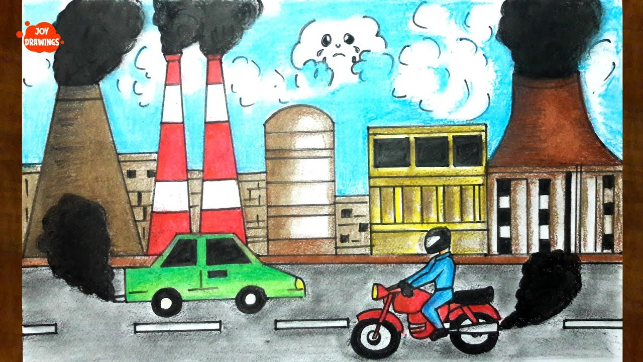 How to draw scenery of environmental pollution in step by step in easy my natural resouces