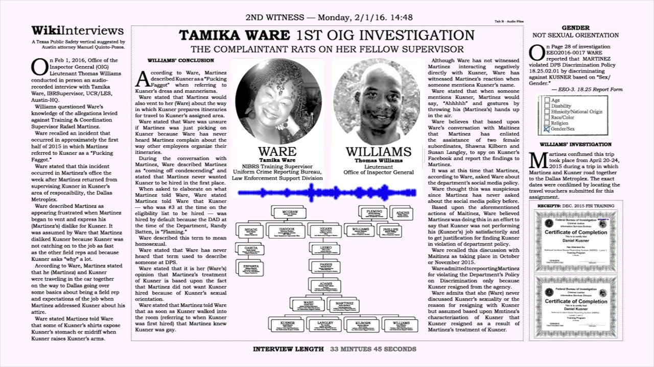 TAMIKA WARE 1ST OIG INVESTIGATION - YouTube