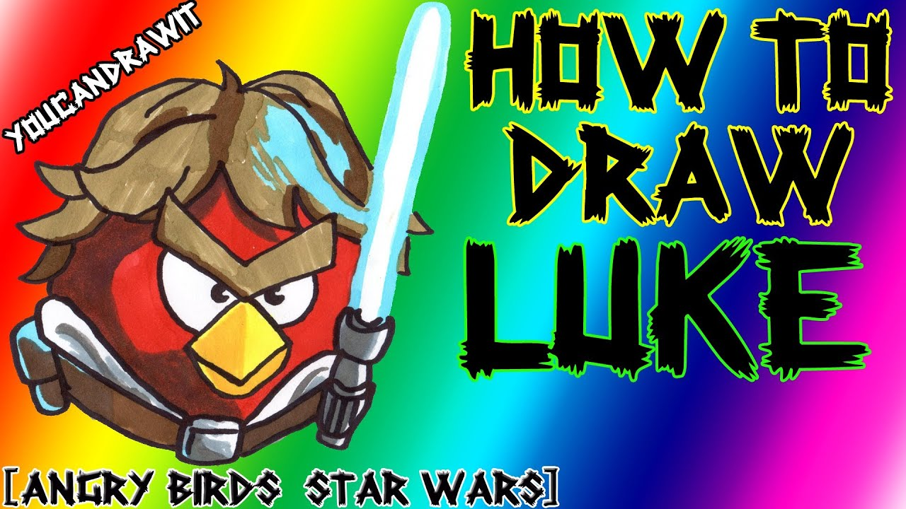 Download How To Draw Luke Skywalker Bird from Angry Birds Star Wars ✎ YouCanDrawIt ツ