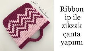 Ribbon ip ile  zikzak çanta yapımı 1. Bölüm