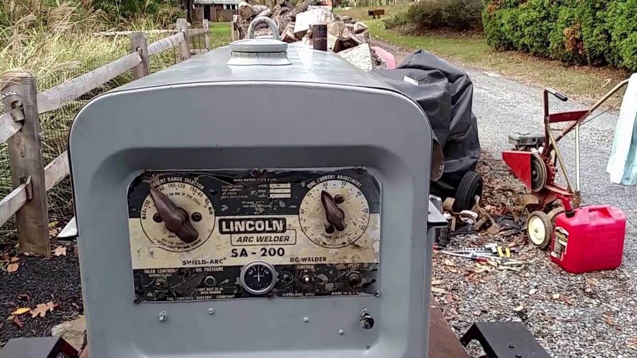 Starting the Lincoln SA200 welder  YouTube