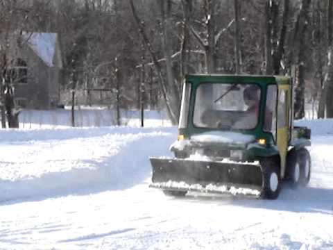 John Deere Gator >> More Snow Plowing with Modified 6x4 Gator - YouTube
