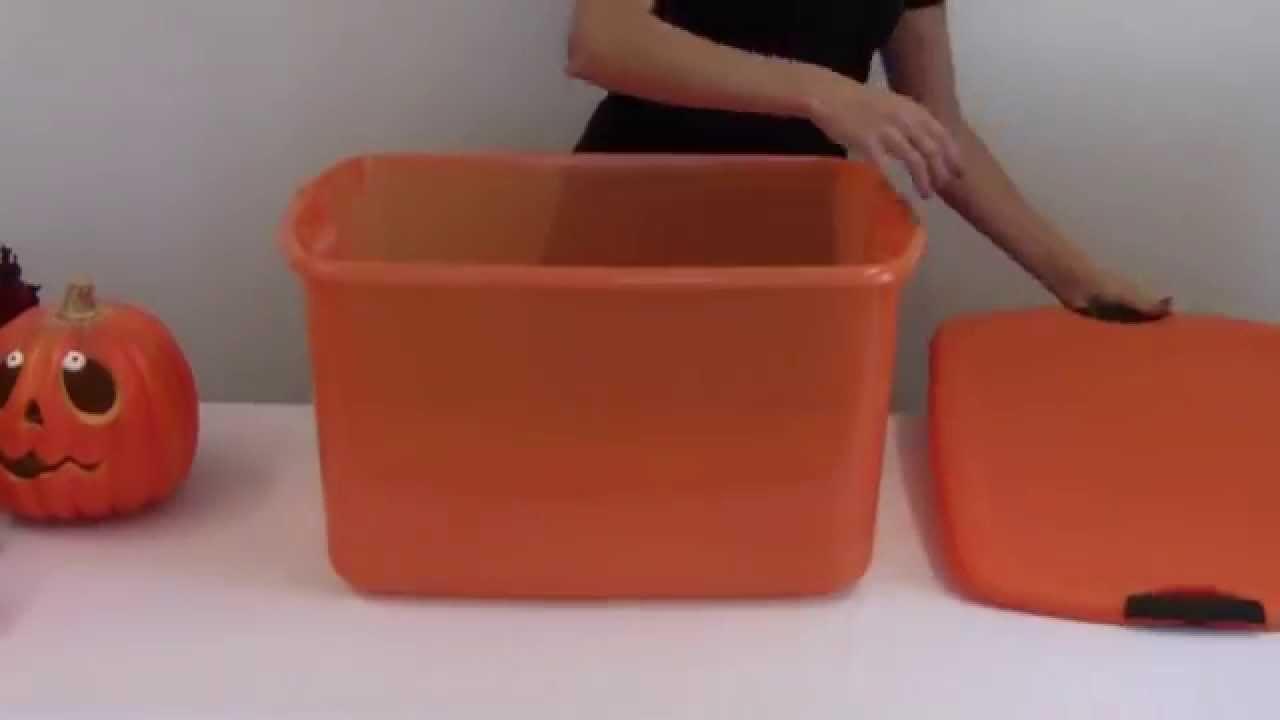 Sterilite 66 Quart Orange Storage Tote YouTube