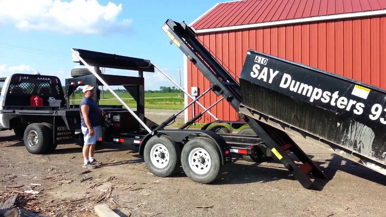 Say Dumpsters Wastequip Gooseneck Roll Off Trailer Youtube