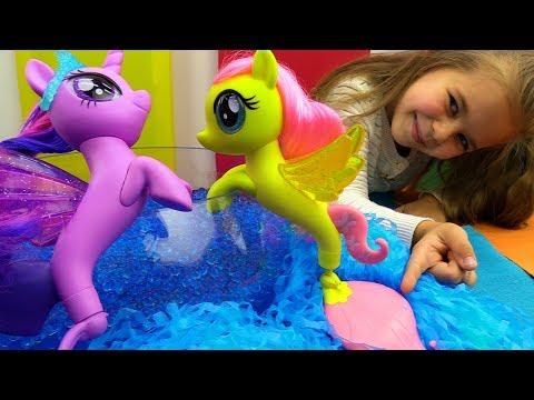 Литл Пони - Флаттершай превращается в русалку. Игрушки Пони - Мультики для девочек