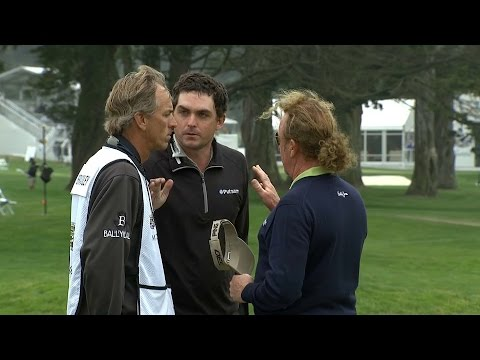 Keegan Bradley and Miguel Angel Jimenez dispute at Cadillac Match Play