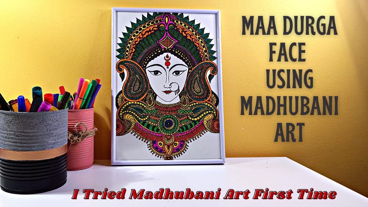 Maa Durga Face Using Madhubani Art | Tried Madhubani Art First Time #MadhubaniArt Navratri Special