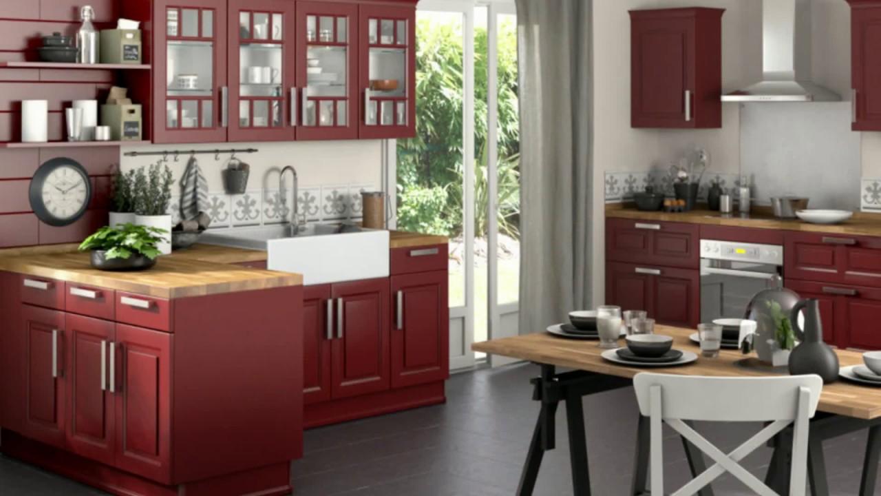meuble de cuisine en bois rouge youtube. Black Bedroom Furniture Sets. Home Design Ideas