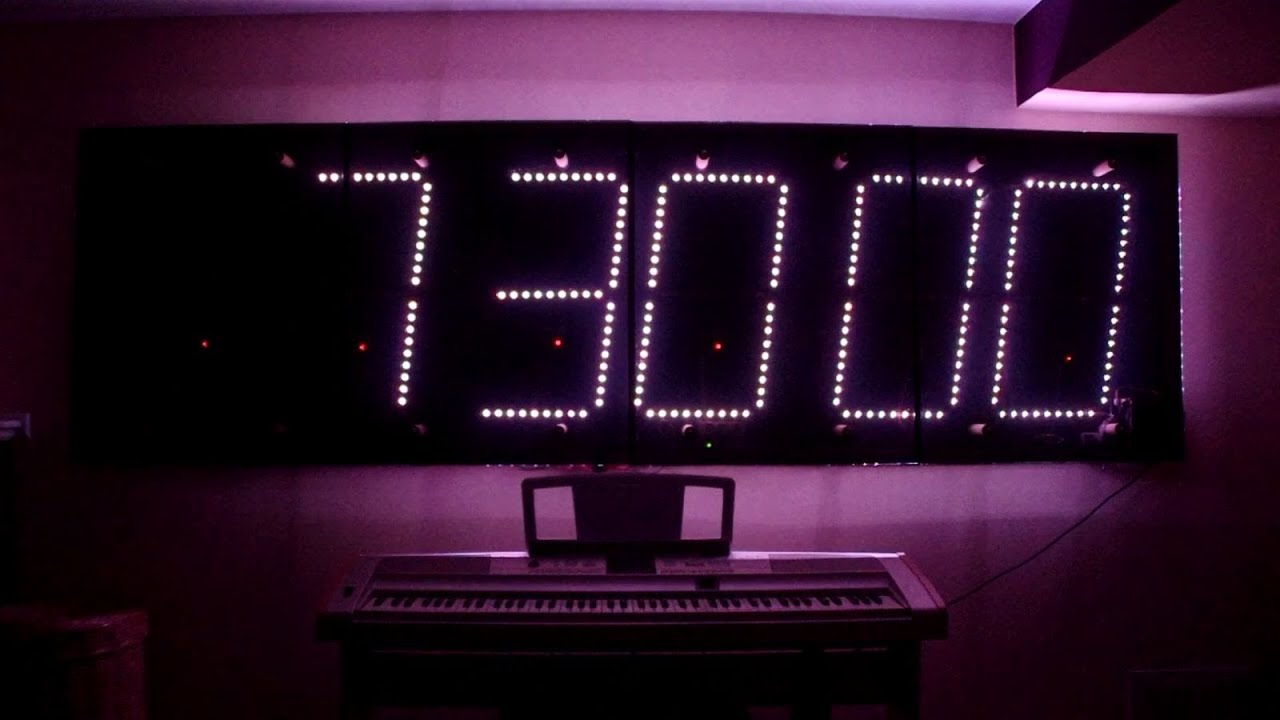The Giant 3 Foot By 10 Foot Color Changing Digital Clock