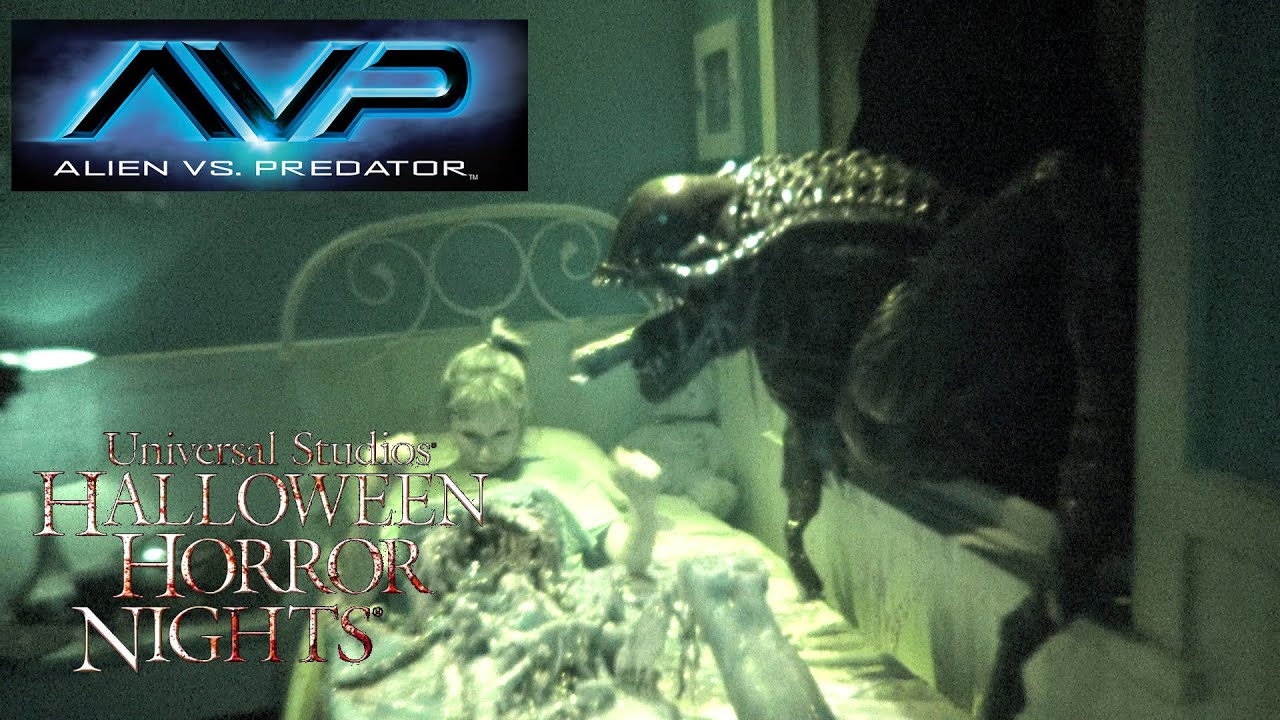 alien vs predator haunted house maze walk through halloween horror nights universal hollywood 2015 youtube
