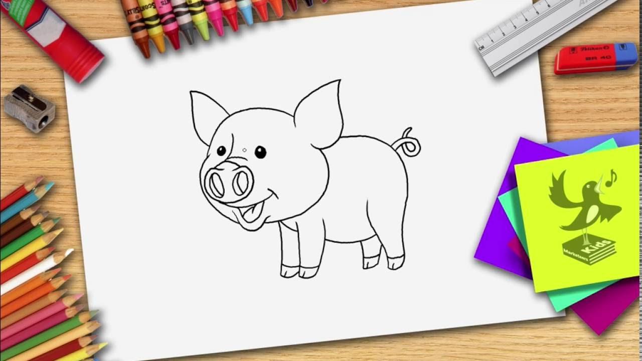 Wie zeichnet man ein Schwein - Schwein zeichnen lernen - YouTube