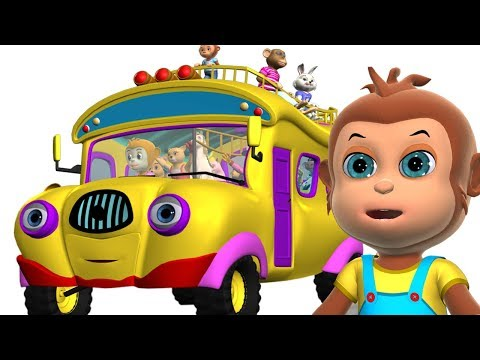 Wheels on the Bus Animal Sounds | Kid's Songs - 3D Nursery Rhymes for Children