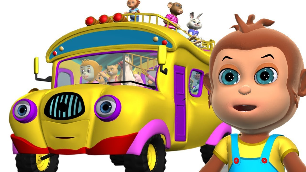 Wheels on the Bus Animal Sounds | Kids Songs - 3D Nursery Rhymes for Children