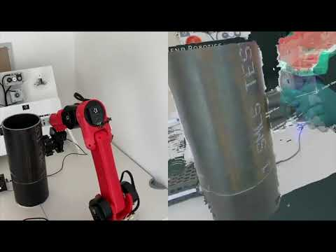 Teleoperated robotic arm moving NDE sensors for pipe inspection