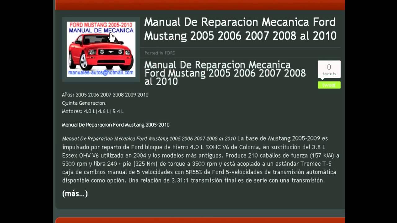 manual de mecanica y taller ford mustang 2005 2006 2007 2008 2009 rh youtube com manual de mustang 2004 en espanol manual de taller ford mustang 2007